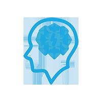 Light Blue Brain thinking icon