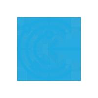 Light blue Arrow going into circles icon